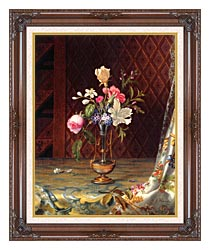 Martin Johnson Heade Vase Of Mixed Flowers canvas with dark regal wood frame