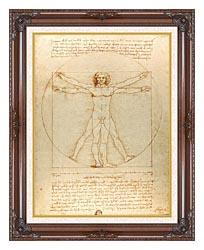 Leonardo Da Vinci Vitruvian Man canvas with dark regal wood frame