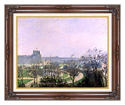 Camille Pissarro The Tuilieries Gardens canvas with dark regal wood frame