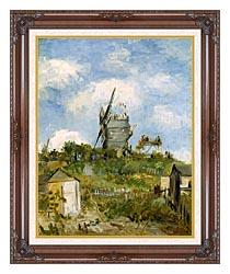 Vincent Van Gogh Blute Fin Windmill Montmartre canvas with dark regal wood frame