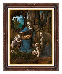 Leonardo Da Vinci Virgin Of The Rocks canvas with dark regal wood frame