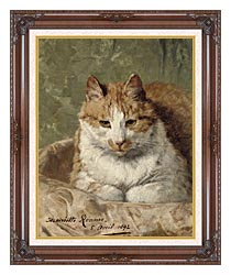 Henriette Ronner Knip Carefree Cat canvas with dark regal wood frame