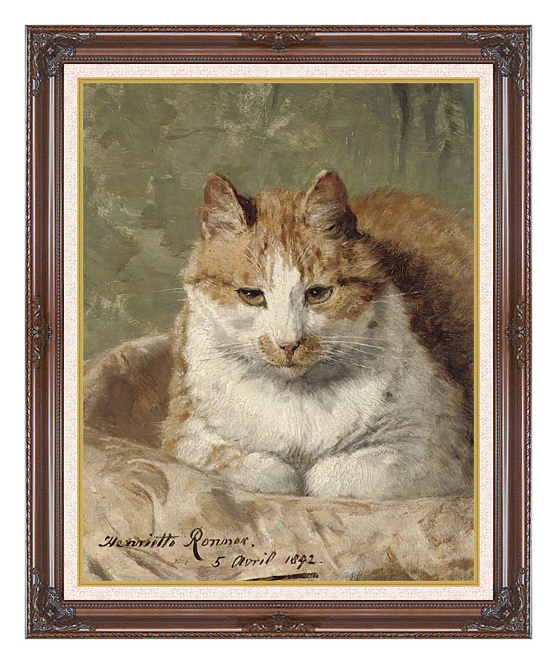 Henriette Ronner Knip Carefree Cat with Dark Regal Frame w/Liner
