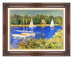 Claude Monet Sailboats At The Basin At Argenteuil canvas with dark regal wood frame
