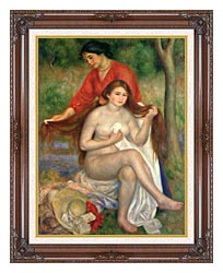 Pierre Auguste Renoir Bather And Maid canvas with dark regal wood frame