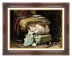 Henriette Ronner Knip A New Place To Hide canvas with dark regal wood frame