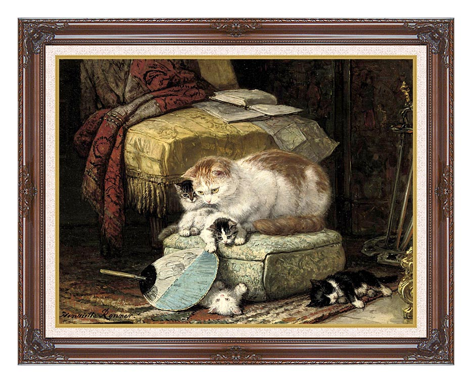 Henriette Ronner Knip A New Place to Hide with Dark Regal Frame w/Liner