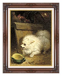 Henriette Ronner Knip In The Barn canvas with dark regal wood frame