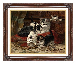 Henriette Ronner Knip Mother And Kittens Playing With A Hand Mirror canvas with dark regal wood frame