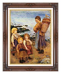 Pierre Auguste Renoir Mussel Fishers At Berneval canvas with dark regal wood frame