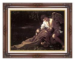 Michelangelo Merisi Da Caravaggio St Francis In Ecstasy canvas with dark regal wood frame