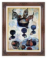 Paul Gauguin Still Life With Three Puppies Detail canvas with dark regal wood frame