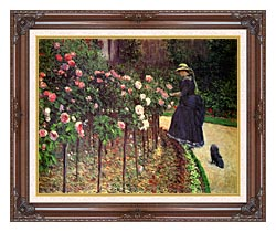 Gustave Caillebotte Roses Garden At Petit Gennevilliers canvas with dark regal wood frame