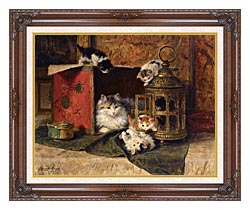 Henriette Ronner Knip A Mother Cat Watching Her Kittens Playing canvas with dark regal wood frame