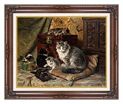 Henriette Ronner Knip A Cat And Her Kittens At Play canvas with dark regal wood frame