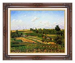 Camille Pissarro Harvest Landscape At Pontoise canvas with dark regal wood frame
