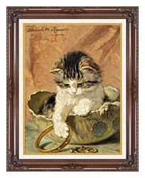 Henriette Ronner Knip A Kitten Playing With Jewelry canvas with dark regal wood frame