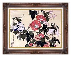 Katsushika Hokusai Morning Glories And Tree Frog canvas with dark regal wood frame