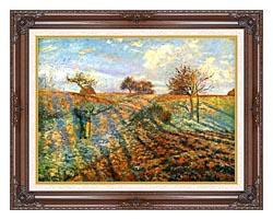Camille Pissarro Hoarfrost canvas with dark regal wood frame