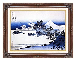 Katsushika Hokusai Fuji Seen From Shichirigahama Beach In The Sagami Province canvas with dark regal wood frame