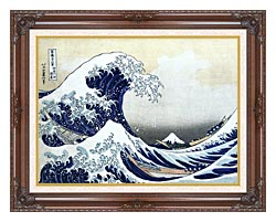 Katsushika Hokusai The Great Wave At Kanagawa canvas with dark regal wood frame