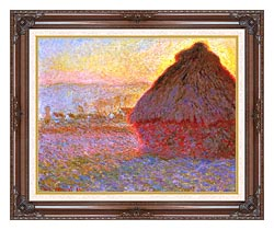 Claude Monet The Grainstack Sunset canvas with dark regal wood frame