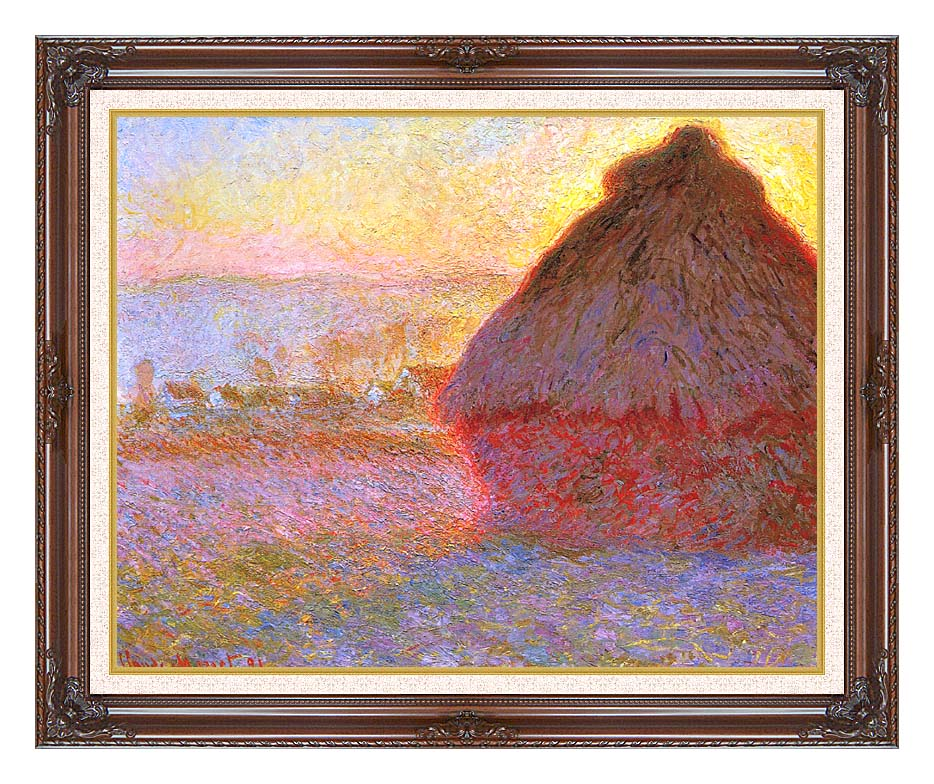 Claude Monet The Grainstack, Sunset with Dark Regal Frame w/Liner