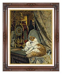 Henriette Ronner Knip A Mother Cat And Her Kitten With A Bracket Clock canvas with dark regal wood frame