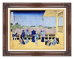 Katsushika Hokusai People On The Balcony Of The Gohyaku Rakan Temple canvas with dark regal wood frame