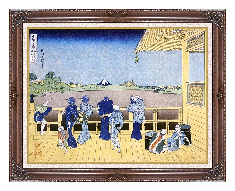Katsushika Hokusai People on the Balcony of the Gohyaku Rakan Temple with Dark Regal Frame w/Liner