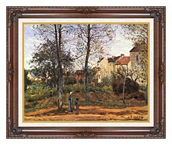 Camille Pissarro Landscape At Louveciennes canvas with dark regal wood frame
