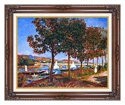 Pierre Auguste Renoir Bridge At Argenteuil canvas with dark regal wood frame