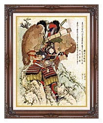 Katsushika Hokusai The Warrior Hatakeyama Shigetada Carrying His Horse Down The Hill After It Had Been Injured canvas with dark regal wood frame