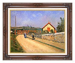 Camille Pissarro Railway Crossing At Patis Near Pontoise canvas with dark regal wood frame