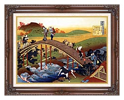Katsushika Hokusai Travelers On The Bridge Near The Ono Waterfall On The Kisokaido Road canvas with dark regal wood frame