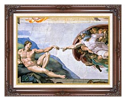 Michelangelo Buonarroti The Creation Of Adam canvas with dark regal wood frame