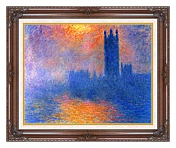 Claude Monet Houses Of Parliament London Sun Breaking Through The Fog canvas with dark regal wood frame