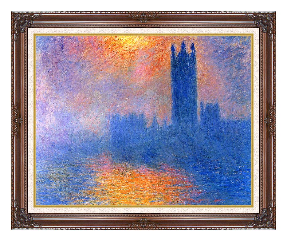 Claude Monet Houses of Parliament, London, Sun Breaking Through the Fog with Dark Regal Frame w/Liner