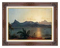 Martin Johnson Heade Sunset Harbor At Rio De Janeiro Detail canvas with dark regal wood frame