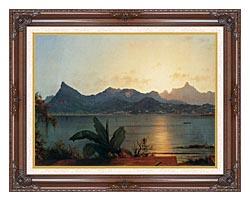 Martin Johnson Heade Sunset Harbor At Rio De Janeiro Detail canvas with dark regal wood frame