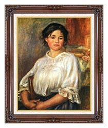 Pierre Auguste Renoir Young Girl Seated canvas with dark regal wood frame