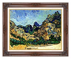 Vincent Van Gogh Mountains At Saint Remy canvas with dark regal wood frame