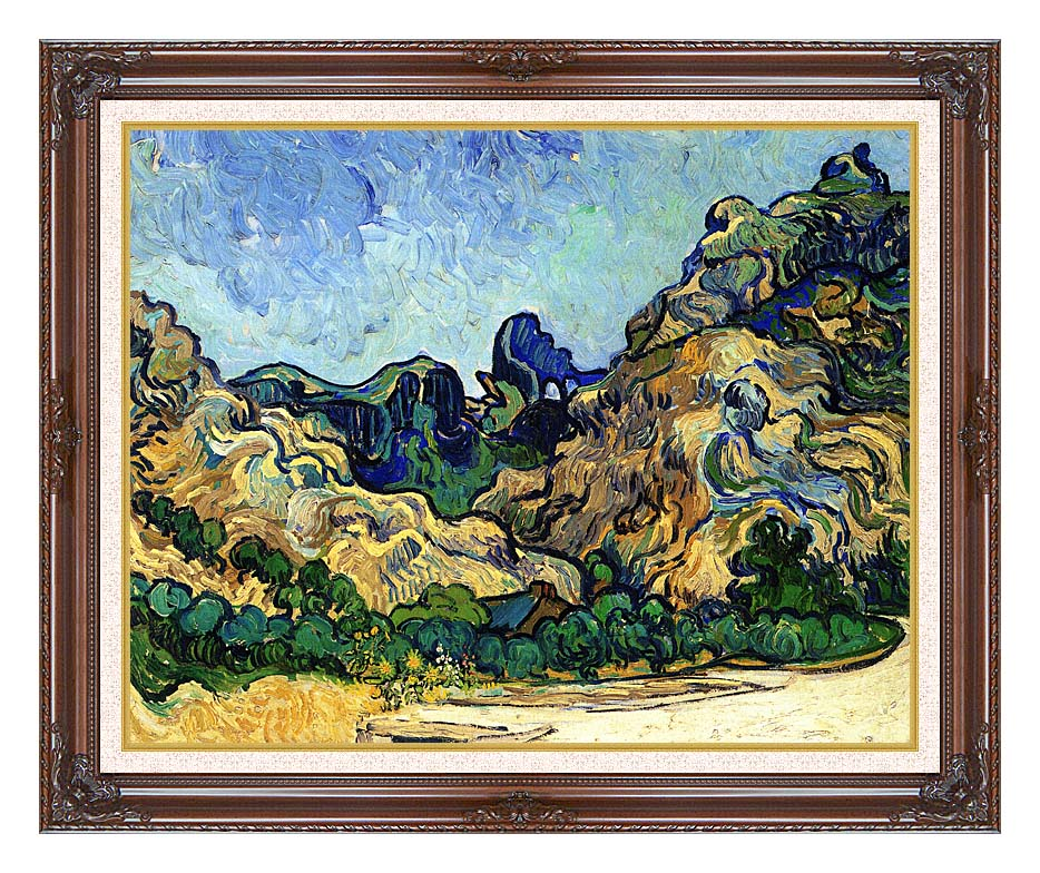 Vincent van Gogh Mountains at Saint Remy with Dark Regal Frame w/Liner