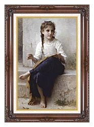 William Bouguereau Young Seamstress Sewing canvas with dark regal wood frame