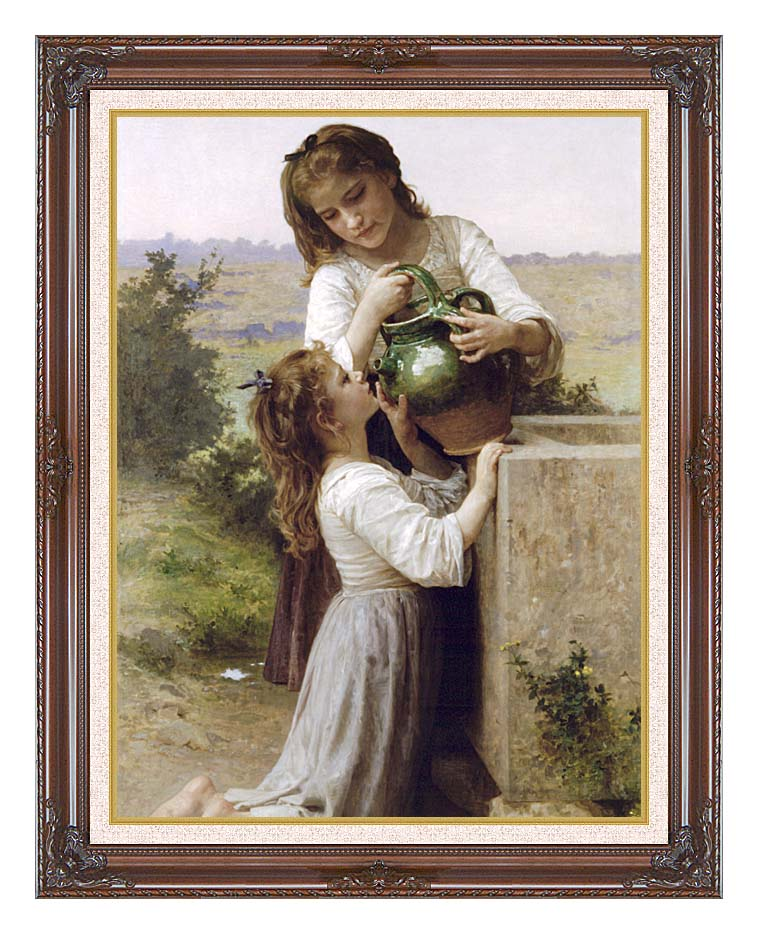 William Bouguereau At the Fountain with Dark Regal Frame w/Liner