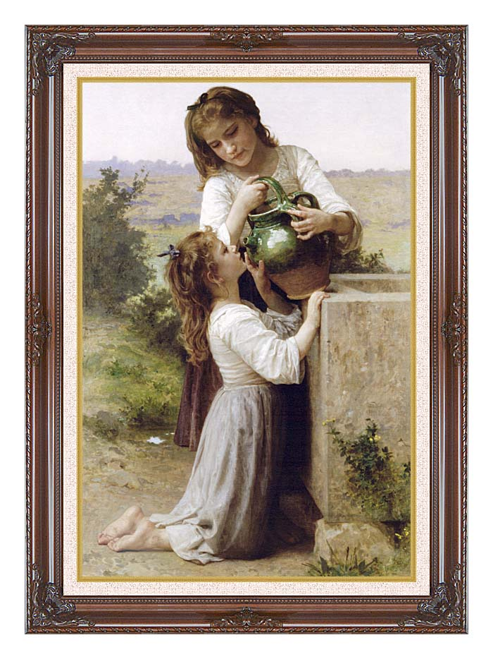 William Bouguereau Girls At the Fountain with Dark Regal Frame w/Liner
