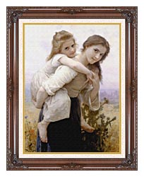 William Bouguereau Not Too Much To Carry canvas with dark regal wood frame