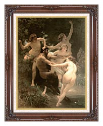 William Bouguereau Nymphs And Satyr canvas with dark regal wood frame
