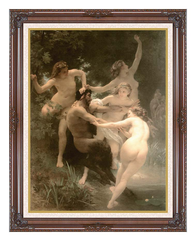 William Bouguereau Nymphs and Satyr with Dark Regal Frame w/Liner