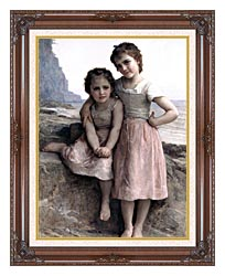 William Bouguereau On The Rocky Beach canvas with dark regal wood frame
